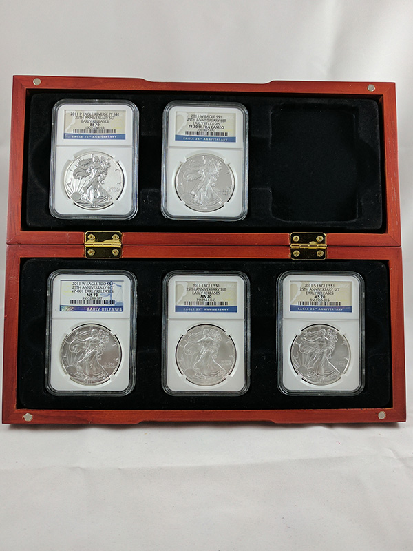 2011P Silver Eagle Reverse 25th Anniv 5PC