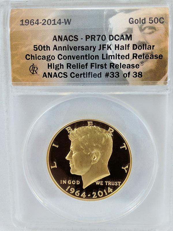 1964-2014W 50th Anniversary JFK Half Dollar High Relief First Release