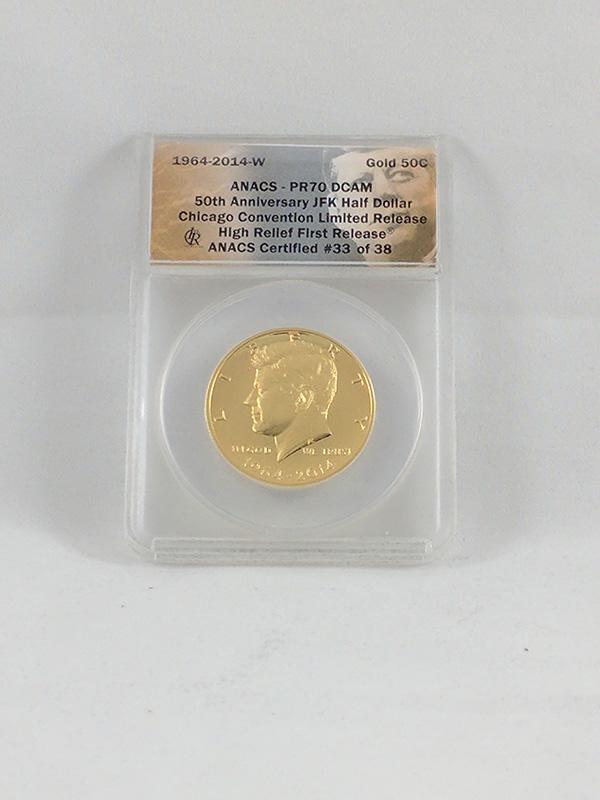 1964-2014W JFK 50th Anniversary High Relief Half Dollar