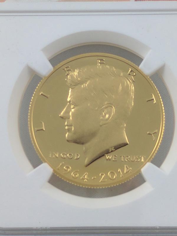 1964-2014W PF69 UC JFK High Relief Struck Thru Gold Mint Error Coin