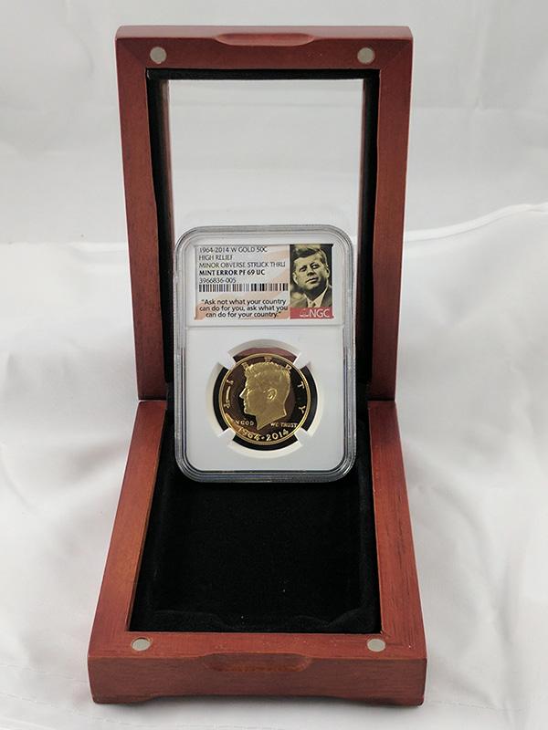 1964-2014W Gold Mint JFK Error Coin Redwood Protective Case