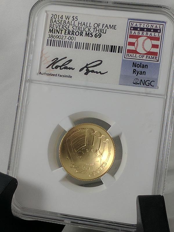 2014W 5 Dollar Baseball Hall of Fame Mint Error Coin Nolan Ryan Signature