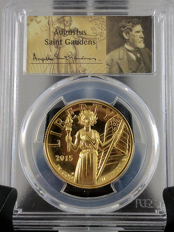 2015-W First Strike PCGS MS70PL $100 Ultra High Relief Gold Coin, St. Gaudens Label