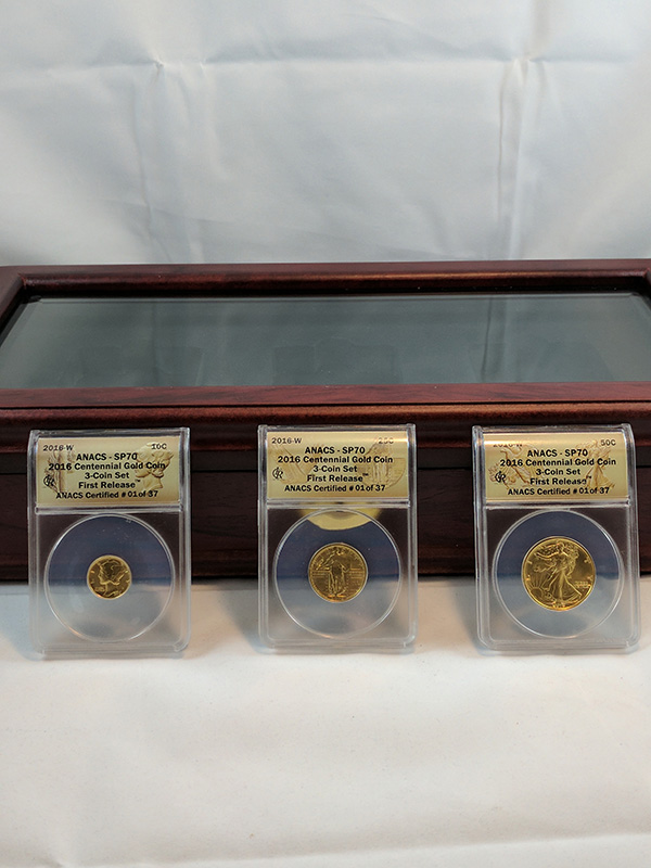 2016W First Release ANACS Certified 01 Centennial Gold 3-Coin Set with Case